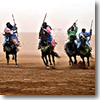 A Berber horseman charge, called a fantasia, in Morocco.