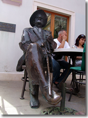 The statue of James Joyce, kicking back at a cafe named after Ulysses, on the site where he once lived in Pula.