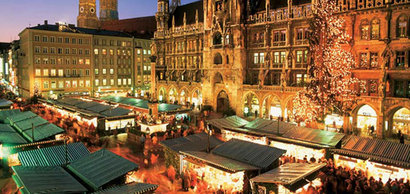 The Christkindlmärkte on Marienplatz in Munich.