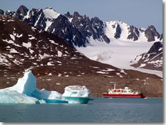 The G Adventures Adventures MS Expedition cruising the fjords of Spitsbergen, Svalbard, Norway.
