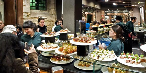 Tapas at the Sagardi in the Barri Gotic, Barcelona