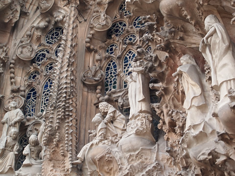 Some of the detailed decorations on the Nativity Facade of Sagrada Familia Basilica, Barcelona