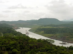 A view of the Panama Canal's Gaillard Cut from the watchtower at the Gamboa Rainforest Resort.