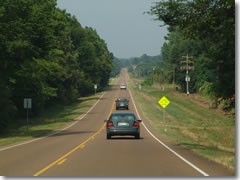Mississippi's Route 4, cutting east through the kudzu-blanketed woods of central Mississippi's Hill Country.