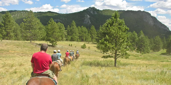 Horseback riding in the Black Hills of South Dakota