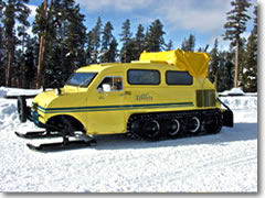 Though a few roads are open to cars, most of Yellowstone is accessible in winter only via snowcoach.