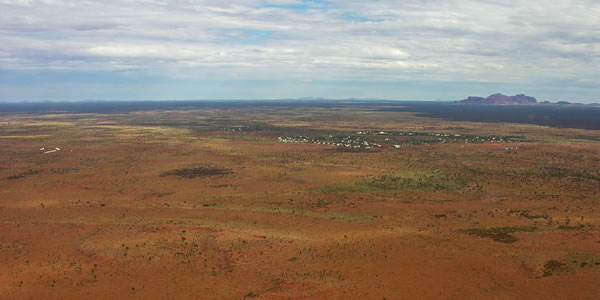 The Olgas and the hotels near Ayer's Rock, Australia
