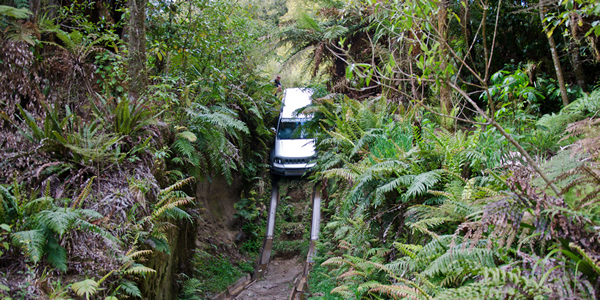 Plunging off a cliff in a car on purpose as part of the offroad 4x4 experinece near Rotorua, New Zealand