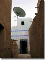 The Nubian houses on Elephantine Island at Aswan may be built of mud brick, but they do have satellite TV service.