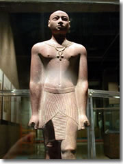 A quartzite statue from Karnak in Aswan's Nubian Museum. It shows Horemakhet, son of Shabaka (25th dunasty) and High Priest of Amun in Thebes during the reign of his father and two of his sucessors. Though the form is purely Egyptian, the facial features are more tyically Kushite.