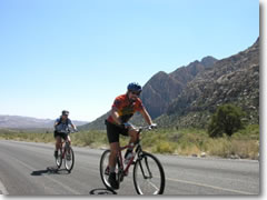 Road Biking through Nevada's Red Rock Canyon, just 18 miles off the Vegas Strip
