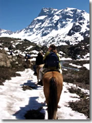 Our horses ford snowpacks as they climb high into the Andes Mountains of Chile