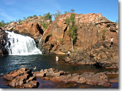The upper pool of Edith Falls on Australia's Jatbula Trail.
