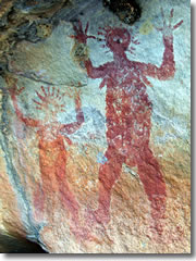 Ancient aboriginal pictographs on a boulder along the Jatbula trail.