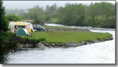 A campsite by the side of the little river in Sneem, County Kerry on the west coast of Ireland.