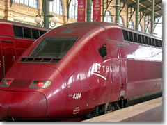 High-speed trains in Europe, like this Thalys Express, cost a bit more (even with a railpass), but can be worth it for shaving hours off your travel time.