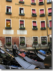 A Best Western hotel overlooking the gondola parking lot of Venice, Italy